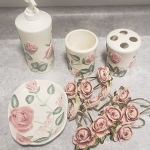 Rose Shower curtain with accessories